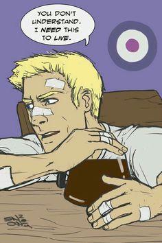 Hawkeye and his coffee