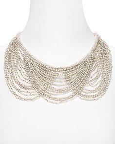 Aqua Beaded Layered Bib Necklace | Bloomingdale's - 28.00