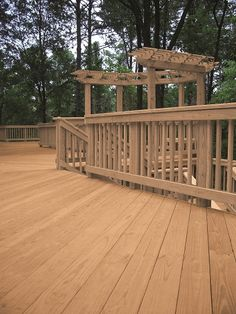 Brown pressure treated wood means no more green wood look. It's more natural looking and will fit with your decor perfectly.