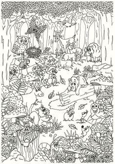 Herfst Kleurplaten van Suzanne! | kleurplaten herfst | Herfst-kleuren-dieren-paddestoelen? Owl Coloring Pages, Printable Coloring Pages, Coloring Pages For Kids, Coloring Sheets, Coloring Books, Animal Pictures To Color, Colorful Pictures, Drawing Lessons For Kids, Printable Crafts