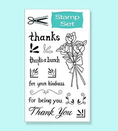 The Thank You Stamp Set is a clear photopolymer stamp set. It's perfect for Spring or any other occasions. With 4 sentiments and 12 images, you can create a wide range of beautiful and cheerful cards. Thanks A Bunch, 12 Image, Cards Diy, Stamp Sets, Stamps, Crafting, Ink Pads, Basteln, Stamping