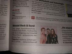 Vielen Dank der Kleine Zeitung für den #Aviso #Eventtip Wenzel Beck & Band mit Julia Hofer und Andreas Karall am 7.2. bei uns im VolXhaus - Klagenfurt #tickets unter 06781290665 #volxhausklagenfurt #weappu #wenzelbeck #modern #pop #klagenfurt #presse #live