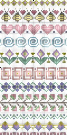 Valentine Freebie ~ Blue Eyed Bees Send Messages of Love Cross-stitch Borders. no color chart available, just use pattern chart as your color guide. or choose your own colors. Point de croix *m Cross stitch borders Cross Stitch Borders, Cross Stitch Samplers, Cross Stitch Charts, Cross Stitch Designs, Cross Stitching, Cross Stitch Embroidery, Embroidery Patterns, Cross Stitch Patterns, Fair Isle Knitting Patterns