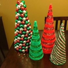 Ornament and pipe cleaner Christmas trees Unique Christmas Trees, Alternative Christmas Tree, Christmas Makes, Christmas Crafts For Kids, Winter Christmas, Holiday Crafts, Christmas Gifts, Christmas Ornaments, Christmas Ideas