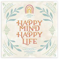 Happy Mind Happy Life, Happy Minds, Happy Thoughts, Canvas Art Prints, Canvas Wall Art, Big Canvas, Framed Canvas, Framed Art, Framed Prints