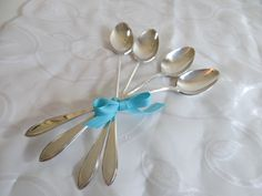 """1919 New England Silverplate """"Rosemary"""" Iced Tea Spoons - Set of Four - Vintage Elegant Delicate Flatware -Vintage Silverware-Ice Tea Spoons by SecondWindShop on Etsy"""