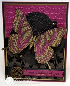 Stamps: Swallowtail (MDS version), Express Yourself Paper: Basic Black, Rich Razzleberry, Brushed Gold, retired Mocha Morning DSP Ink: Pri...