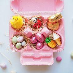 Osternest aus Eierkarton bemalen und passend füllen