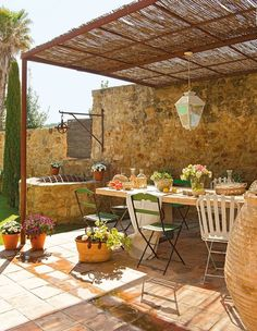 12 Pergola Patio Ideas that are perfect for garden lovers! Rustic Patio, Rustic Outdoor, Outdoor Decor, Rustic Farmhouse, Outdoor Rooms, Outdoor Dining, Outdoor Gardens, Dining Area, Dining Room