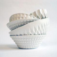 Geometric ceramic bowls