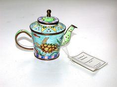 Wonderful 1999 KELVIN CHEN Miniature Enameled Teapot  Turtle