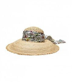 24c12685fce64 Gucci - straw wide brimmed hat with flora silk band Item