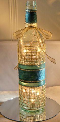 Beautiful Teal Christmas Wine bottle Lamp with by EcoArtbyNancy, $25.00