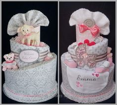 Pink & Grey Little Lamb Diaper Cake www.facebook.com/DiaperCakesbyDiana