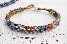"Crocheted ""tennis""  bracelet Spring Rainbow colors/boho/bohmeian/earthy/fun/weekend wear/vacation/natural. $24.00, via Etsy."