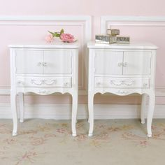Pair of Nightstands with Doors $525.00 #thebellacottage #shabbychic #OOAK
