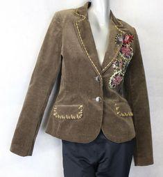 2a5d1ad3d85 Spy Zone Exchange Ladies Brown Brown Velvet Blazer Jacket Embellished M  8-10  SpyZoneExchange