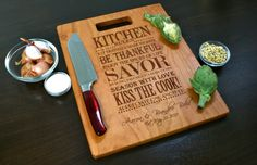 Personalized cutting board for a housewarming gift!