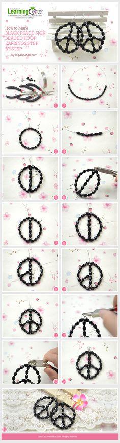 How to Make Black Peace Sign Beaded Hoop Earrings Step by Step