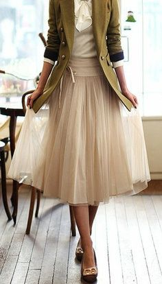 Tulle skirt with long jacket and flats