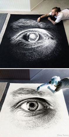 Dino Tomic uses ordinary table salt to create a drawing of the human eye, truly…