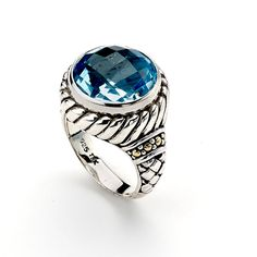 """Affordable Silver Engagement Rings with Blue Stones from Samuel Behnam ...""""Royal Bali"""" tm collection."""