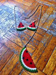 summer watermelon earrings and pendant , necklace  set - fuse beads , perler - handmade , fun , plastic red white and green , fruit. $11.00, via Etsy.