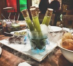 This afternoon we went to @spiceklub_mumbai for lunch and everything was served with gastronomical twist. This vegetarian restaurant serves a list of really traditional Indian recipes with a modern look and feel. Our panipuri was served deconstructed with the chutney in a syringe and pani in test tubes. For an East Indian nothing matches the spicy potato based filling in panipuris served in the streets of Bhubaneswar but I'd go back to this one for the experience! Thanks for recommending…