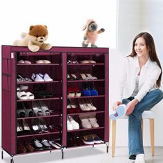 Homdox 6 Layer 12 Grid Portable Home Shoe Rack Shelf Shoe Storage Closet Furniture Organizer Cabinet #15-25