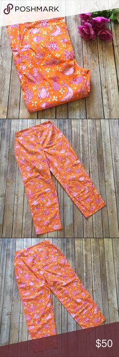 "Lilly Pulitzer Vintage Cropped Sea Creature Pants These vintage Lilly Pulitzer cropped pants are a must have for any die hard Lilly fan! Orange with pink and white happy sea creature print. Seriously SO cute!! Waist is approx. 14 1/2"" when measured laying flat - I would say these run small; inseam is approx. 25"". Brand new with tags!   🚫NO TRADES 🚫NO OFF SITE  ✅POSH RULES ONLY ✅DOG FRIENDLY, SMOKE FREE HOME ✅FAIR OFFERS 🔵 PLEASE USE OFFER BUTTON!  ❓ASK IN THE COMMENTS!   🔹🔹🔹BUNDLE 2…"
