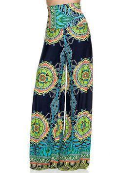 High Waist Fold Over Wide Leg Gaucho Palazzo Pants (Navy Tribal) – Niobe Clothing