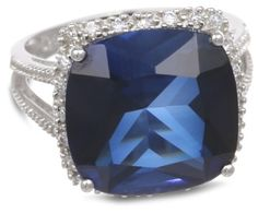 Sterling Silver Cushion-Cut Created Blue Sapphire Ring -