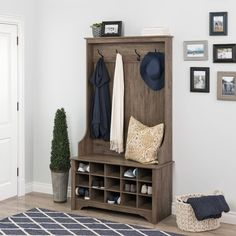 Flatiron Hall Tree with Bench and Shoe Storage | 1000 Shoe Storage Hall Tree, Shoe Cubby, Bench With Shoe Storage, Cubby Bench, Porch Storage, Entryway Shoe Storage, Entryway Hall Tree, Entryway Decor, Entryway Ideas