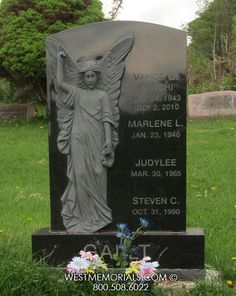 If You Need a Custom Monument or Headstone, West Memorials Can Design a Unique Cemetery Memorial . Let Us Work With You To Create A Beautiful Work of Custom Art. Cemetery Monuments, Cemetery Headstones, Cemetery Statues, Tombstone Designs, Cemetery Angels, Tree Carving, Angel Statues, Black Granite, Sculptures