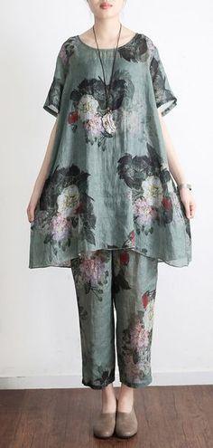 New 2017 green prints vintage linen plus size t shirt tops and pants da88e4355
