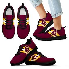 Three Colors Vertical Central Michigan Chippewas Sneakers – Best Funny Store