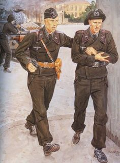tyske pansersoldater, i starten af krigen (Polen) German armored soldiers at the beginning of the wa Ww2 Uniforms, German Uniforms, German Soldiers Ww2, German Army, Military Art, Military History, Army Drawing, Military Drawings, Luftwaffe