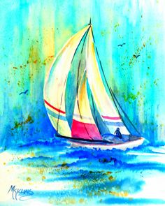 BLUE WATERS - A sailboat skimming across the open seas with the sun shining thru the sky    This painting measures 8x10 inches and is an