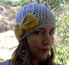 Adult size crocheted bow hat you pick color @Karen Jimenez