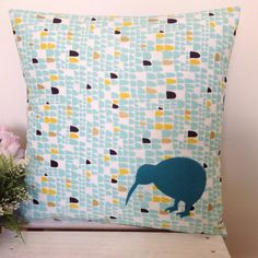 Cushion Cover Pacman Fabric Teal Kiwi by natandalicreative