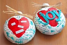 Beautiful ornament that is SO EASY to create and personalize! These mixed media Christmas ornaments will brighten up your tree or make a great gift for newlyweds, teachers, or friends! Using them for a special Girl's Craft Night, inexpensive, easy yet classy. Love combining ink, books, and scrapbooking on an ornament! {Handmade Christmas Ornament}