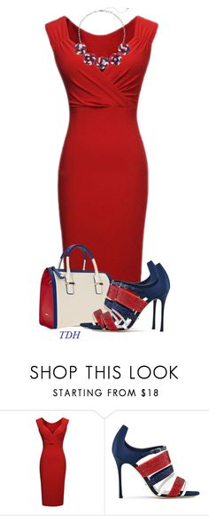 """""""Red White & Blue Pump"""" by talvadh ❤ liked on Polyvore featuring Sergio Rossi and Croft & Barrow"""