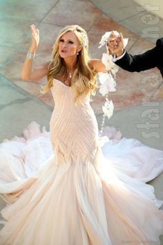 Real Housewives of Orange County wedding dress; hand-beading with platinum metallic thread embroidery