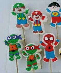 ninja turtle; super hero; mario marshmallow pops