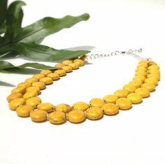 Yellow necklace  chunky  stone  statement by BijouxDesignsStudio, $38.00