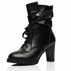 Buckled Lace Up Ankle Boots