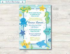 Bajo el mar de ducha invitación chico por AnchorBlueDesign en Etsy