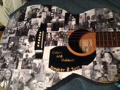 Made this for Dillon and I's one year anniversary. DIY: old guitar, printed out pictures, and modge podge :)