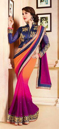 USD 89.27 Sophie Choudry Orange and Pink Karachi Work Wedding Saree 40209