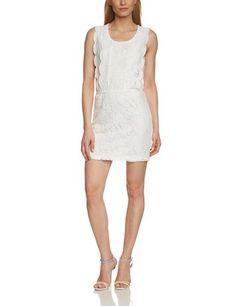 ONLY Damen Cocktail Kleid Onlmargaretha S/l Dress Jrs, Mini, Gr. 40 (Herstellergröße: L), Weiß (Cloud Dancer)